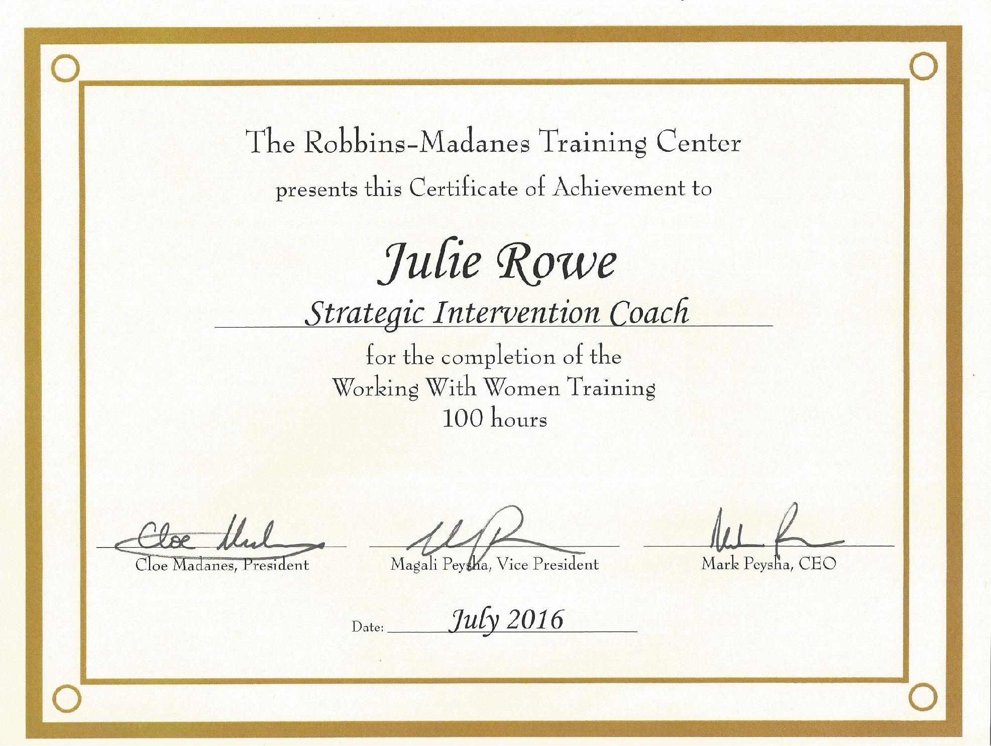 julie rowe coaching
